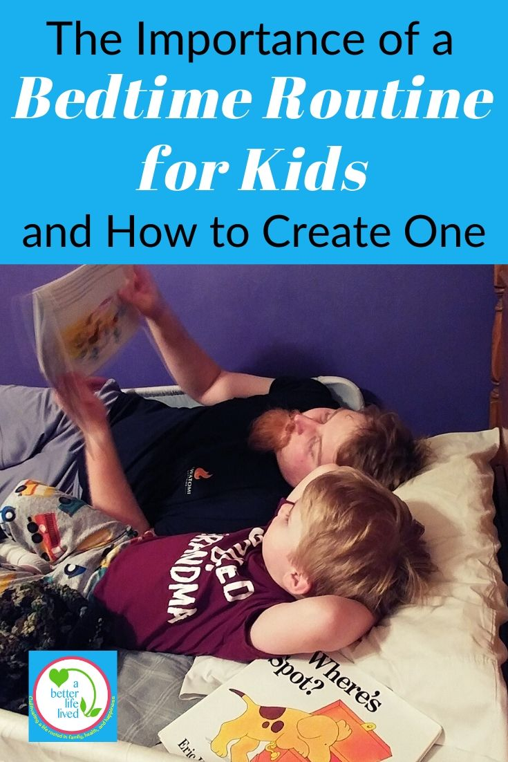 """Father and son reading at bedtime with text overlay """"The importance of a bedtime routine for kids and how to create one"""""""