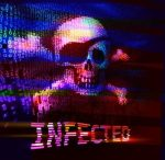 Skull and crossbones on binary code with message of infection. Eps10. RGB. Global colors
