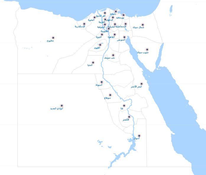 خريطة محافظات مصر