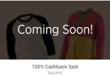 Paytm  percent cashback on apparels