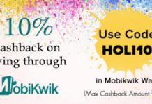 Mobikwik  cashback on payments via mobikwik wallet