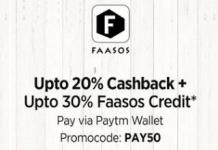 faasos app paytm wallet offer