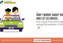 Freecharge Get Flat Rs  Off on Hiring a Driver from DriveU App Extra Rs  Cashback Freecharge Wallet