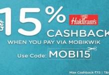 haldirams  cashback mobikwikoffer loot
