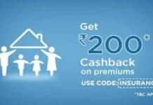 mobikwik rs cashback on insurance premiums loot