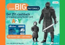 snapdeal  cashback via slonkit cards offer
