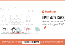 freecharge get upto  cashback on recharges all users