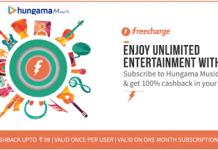 freecharge hungama music  cashback offer