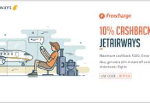 freecharge  cashback jet airways JETFCD