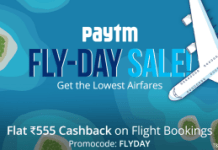 paytm fly day sale get flat  cashback on flights loot