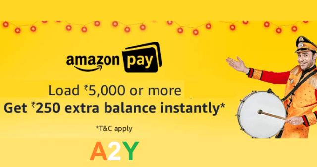 ₹250 Instant Cashback on Loading ₹5000 in Amazon