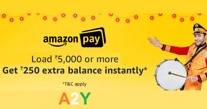 ₹250 Instant Cashback on Loading ₹5000 in Amazon