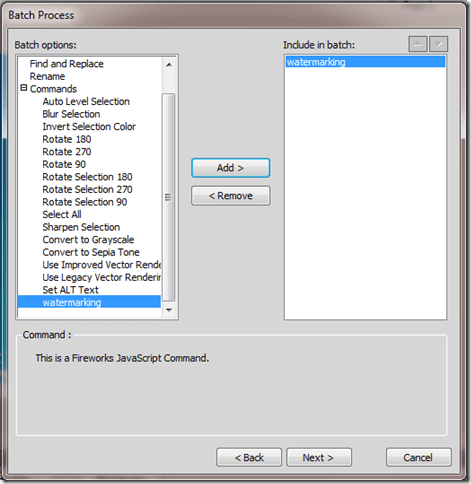 Selecting Previously Created Command
