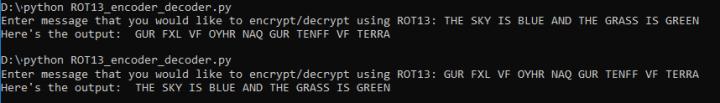 Image showing sample run of ROT13 encoder decoder