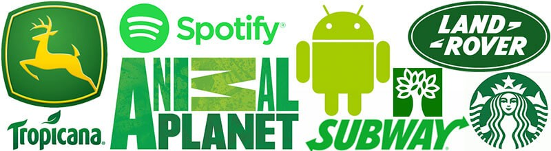 Logos com a cor verde john deer, spotify, android, animal planet, tropicana, subway, abril, star bucks, land hover