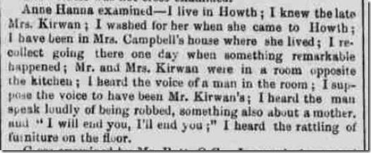 Freeman's Journal December 10 1852 Ann Hanna's evidence copyright the British Newspaper Archive