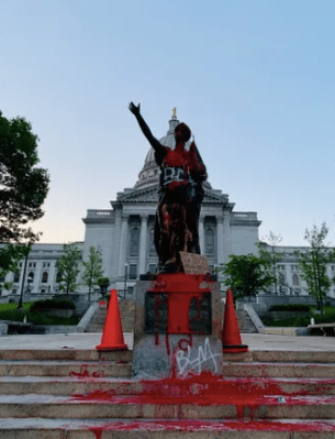 Truth not lies, Forward Statue in Madison, WI Capitol painted red,2020
