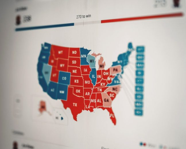 Electoral College USA Map, Trump-Biden Fraught election