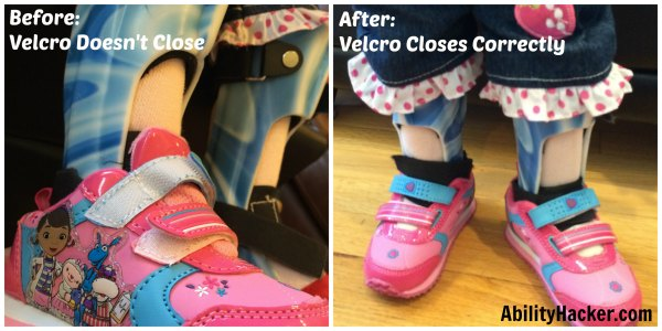 Hacking cute shoes for over AFOs - before and after