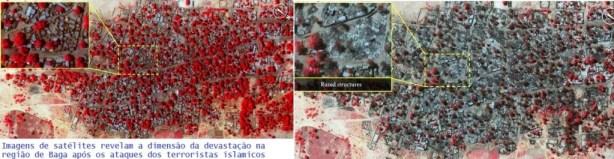 Imagem de Baga antes (à esquerda) e depois da recente invasão (à direita) dos jihadistas do grupo islâmico Boko Haram