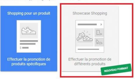 Google Adwords lance Annonces Showcase Shopping