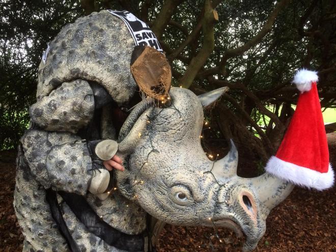 pic of rhino with christmas lights