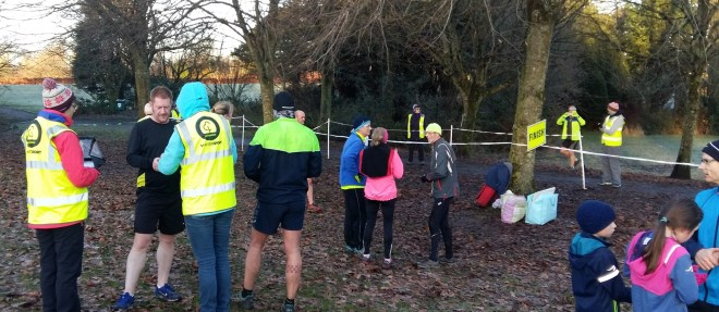 Barcode scanning folks at parkrun finish