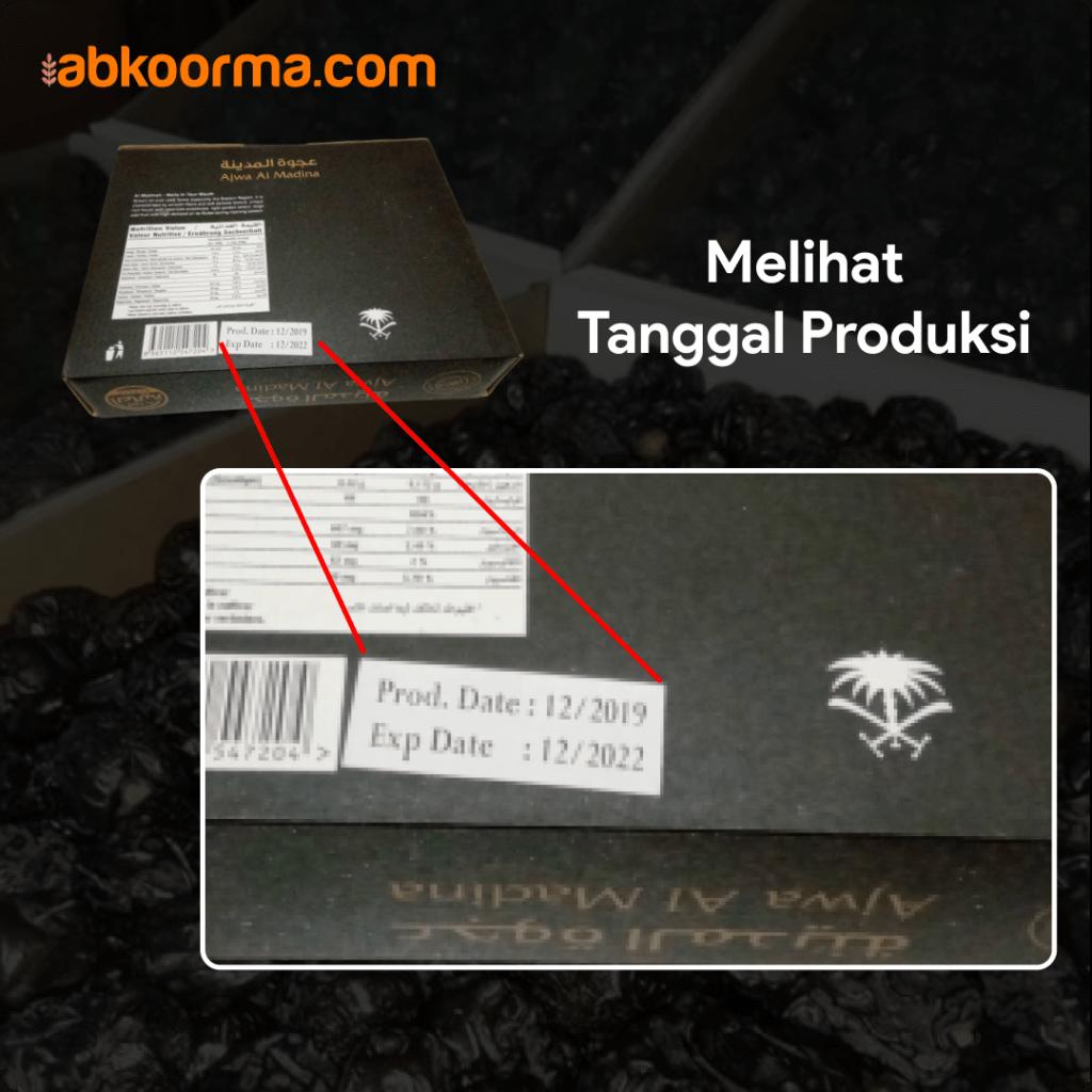 Melihat tanggal impor atau tanggal produksi kurma