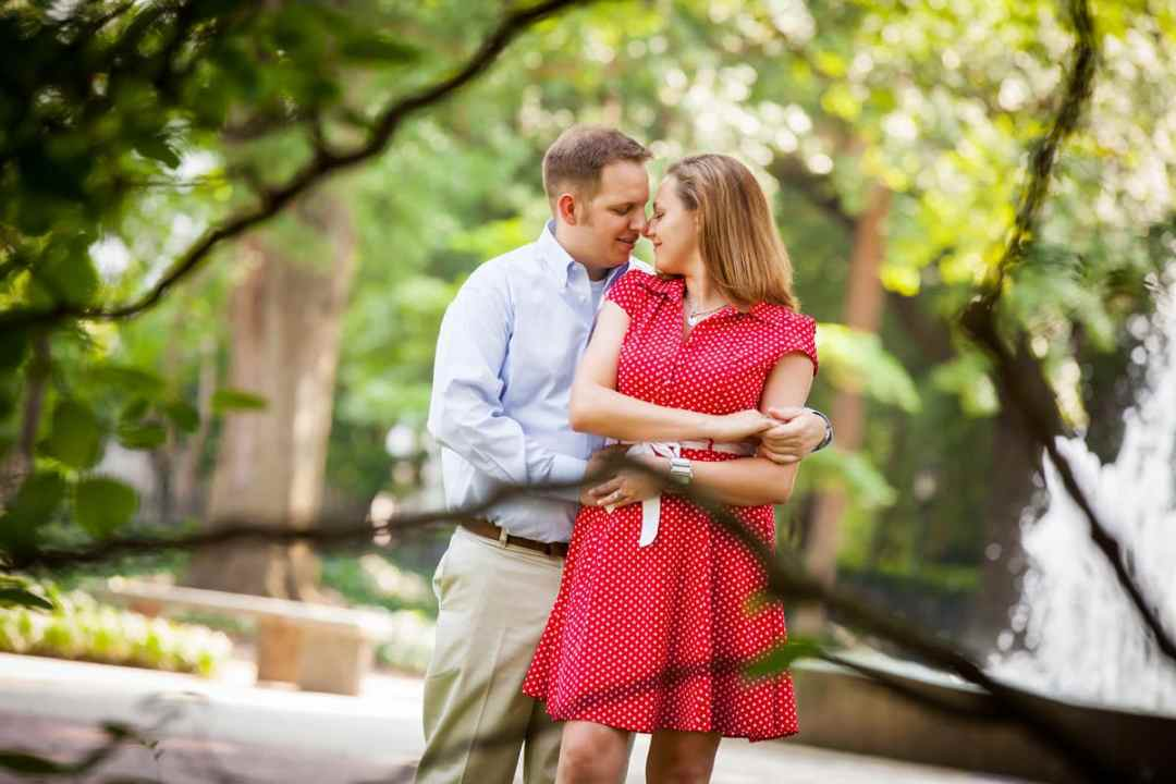 Engagement photo on main mall at Columbia Lace House