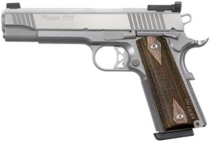 Sig 1911 Traditional Match Elite Pistol 1911T9SME, 9mm, 5 in, Wood Grip, Stainless Finish, Adj
