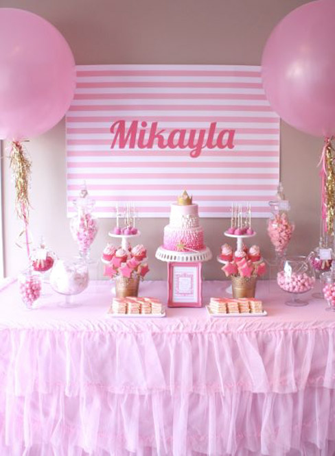 party for her niece mikayla who was turning 6 since she herself has two boys various shades of pink with touches of gold and silver was the color