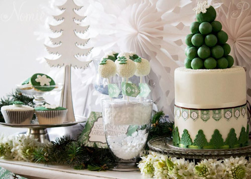 green and white Christmas dessert table side