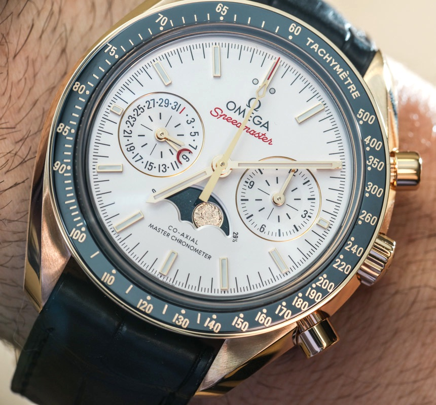 Omega speedmaster master chronometer chronograph moonphase watches hands on ablogtowatch for Chronograph master