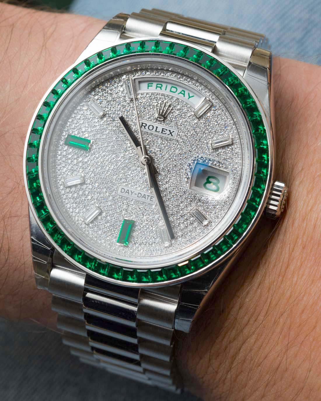 Super Rare 430000 Rolex Day Date 40 Green Emerald