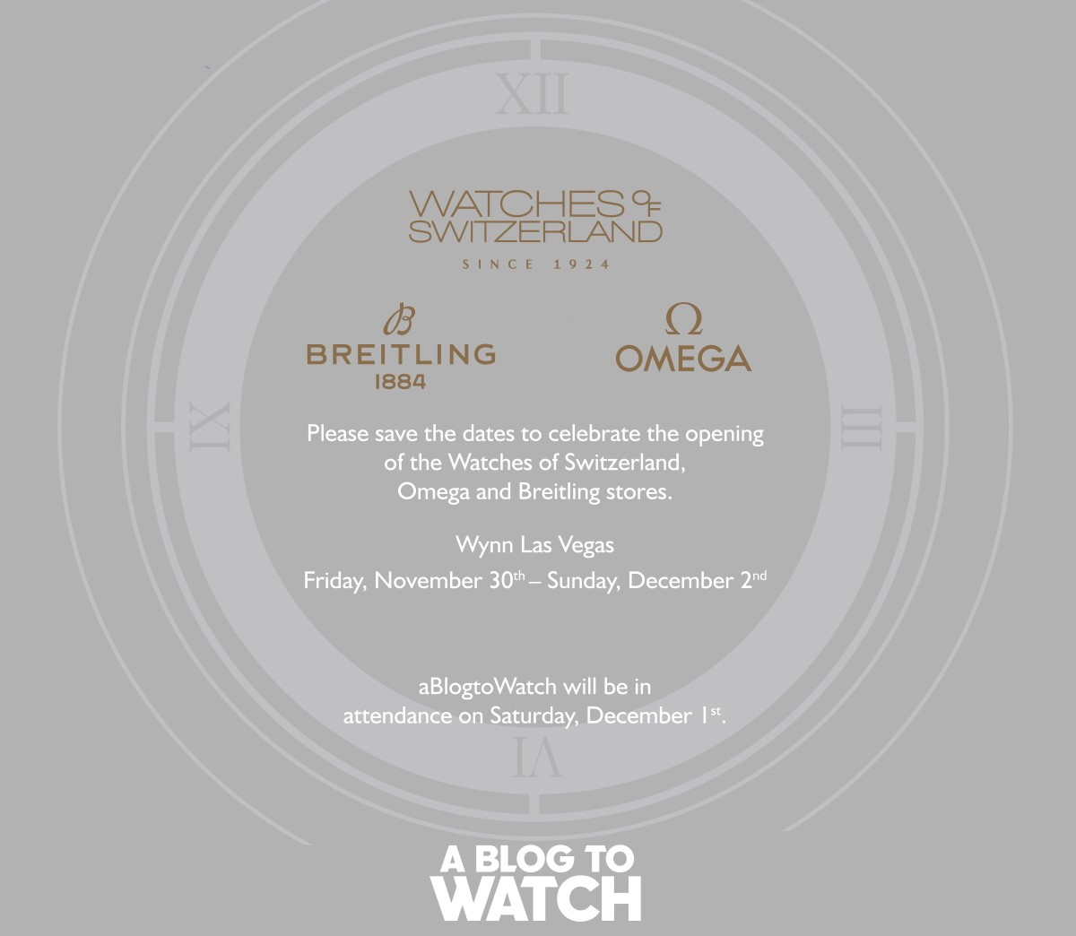 Invitation Watches Of Switzerland Store Opening Party At The Wynn