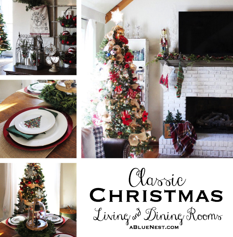 Classic Christmas Living and Dining Rooms - A Blue Nest