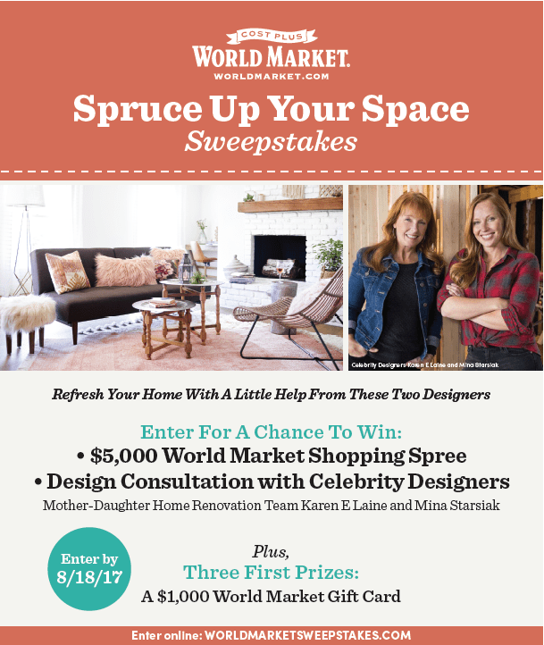 Spruce Up Your Space Sweepstakes with World Market - abluenest.com