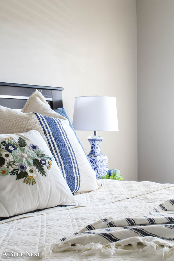 Blue and White Spring Bedroom from A Blue Nest