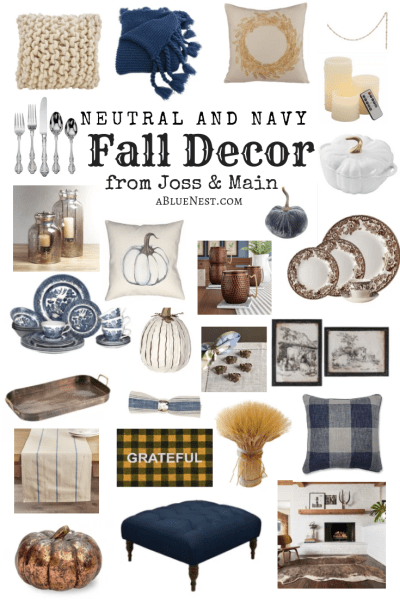 Neutral and navy Fall decor
