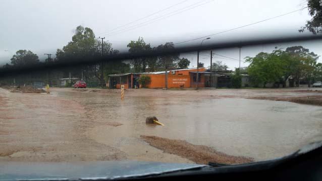 Überschwemmte Straße in Montevideo