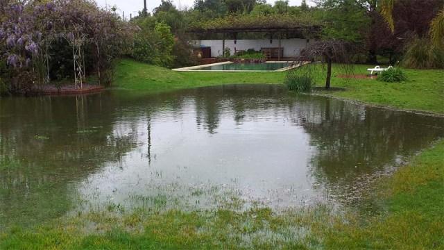 Land unter in Solis. EinTeich vorm Pool.
