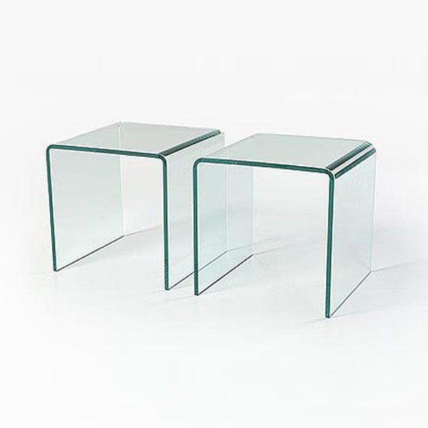 small pair of glass side tables set of 2 12mm
