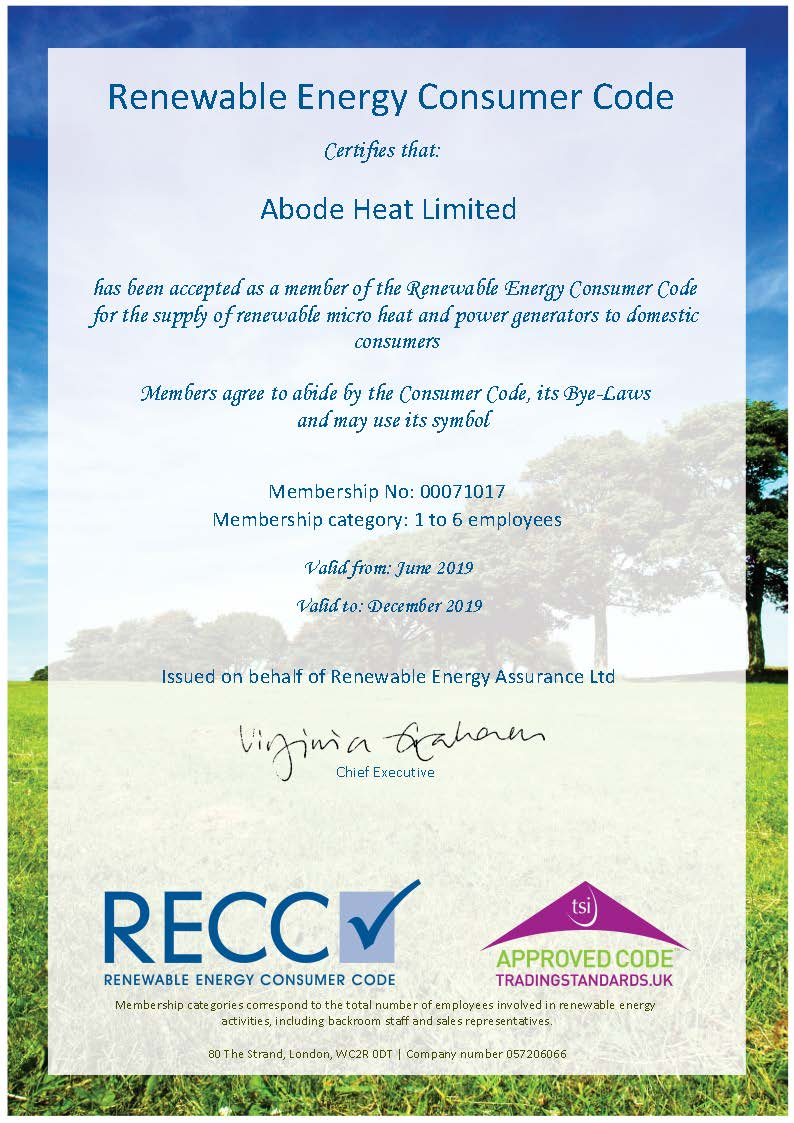 Abode Heat - Certificate of the Renewable Energy Consumer Code