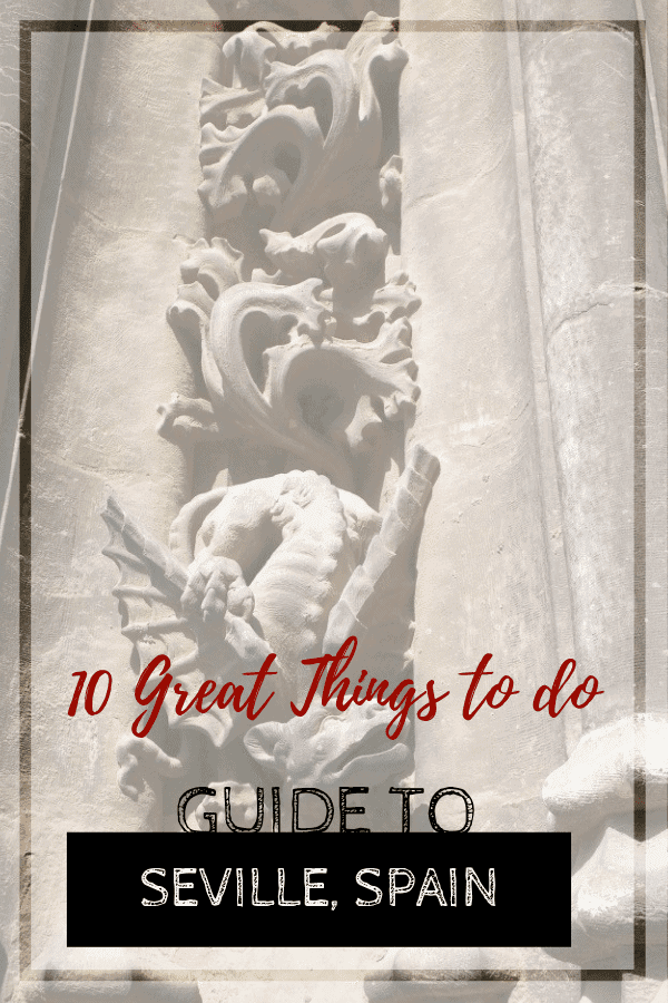 gargoyles on the front of the Seville Cathedral, things to do in Seville Spain