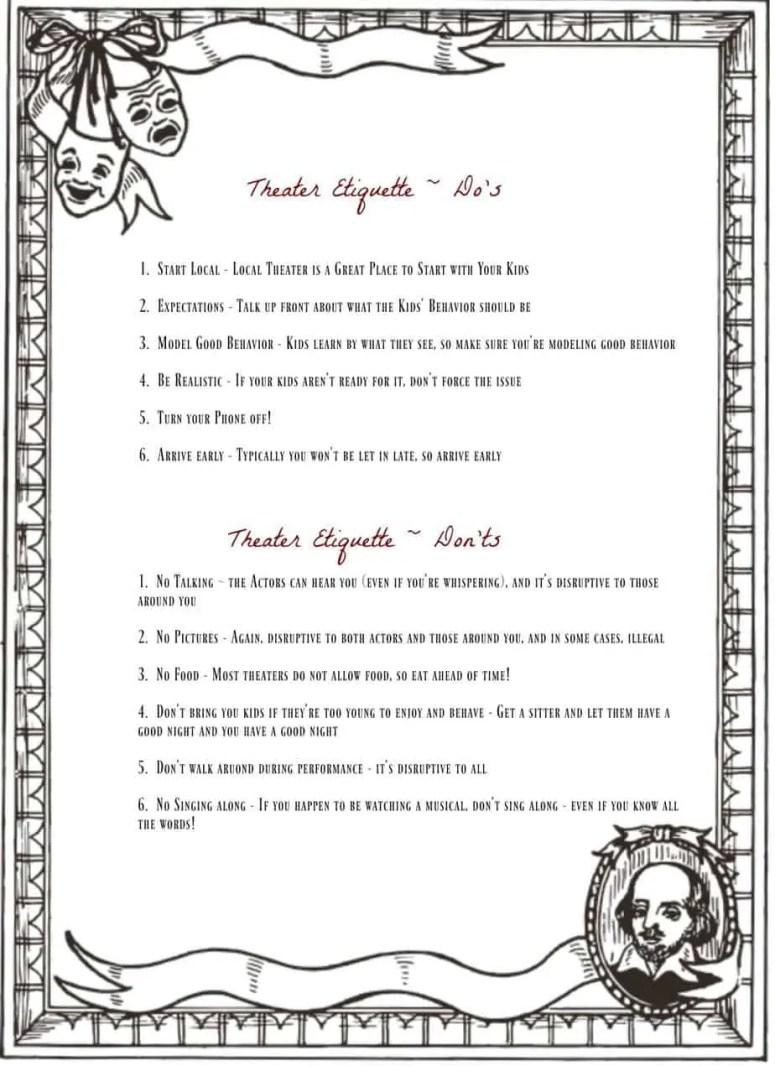 Theater Etiquette Guide