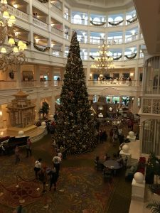 Christmas tree in the lobby at the Grand Floridian