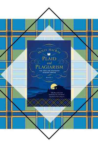 blue tartan plaid withcozy mystery, Plaid and Plagiarism book on top;