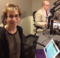 Judy Freedman in the studio with Rabbi Address
