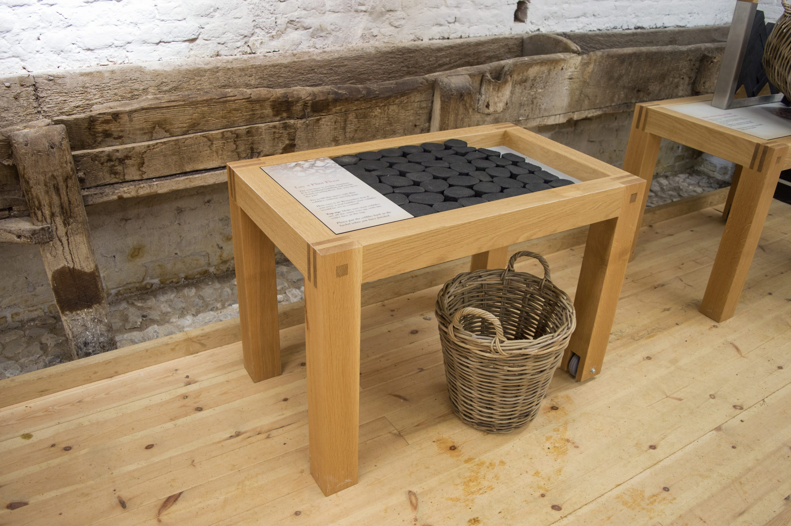 Old Basing House, hands-on interactive exhibit, lay a flint floor