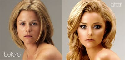 Before and after shots of airbrushed model.